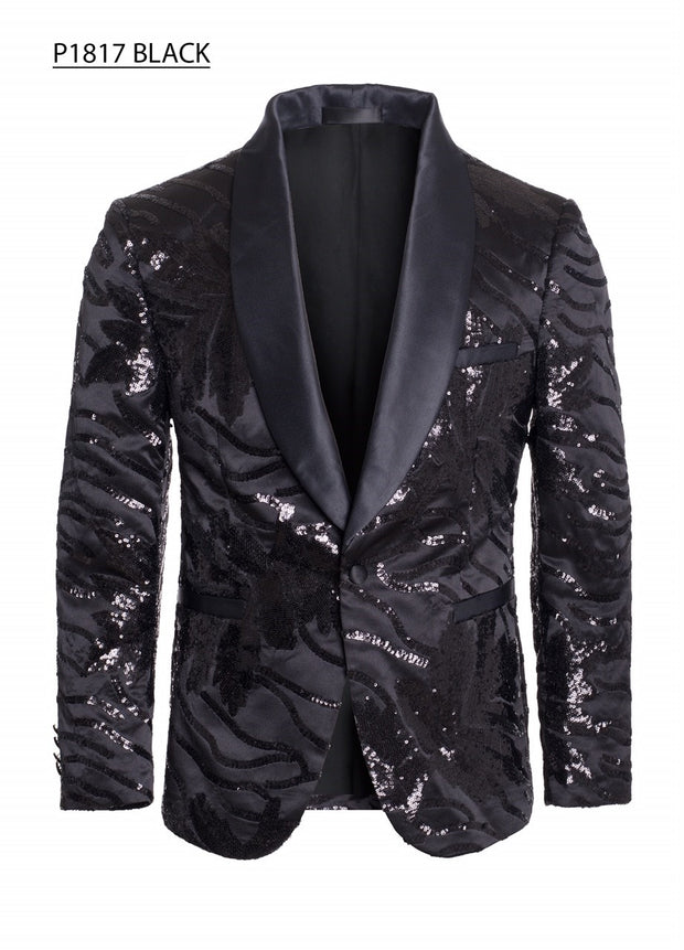 Men's Black Blazer with Sequin Design