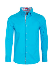Men's Turquoise Solid Cotton-Stretch Long Sleeve Shirt