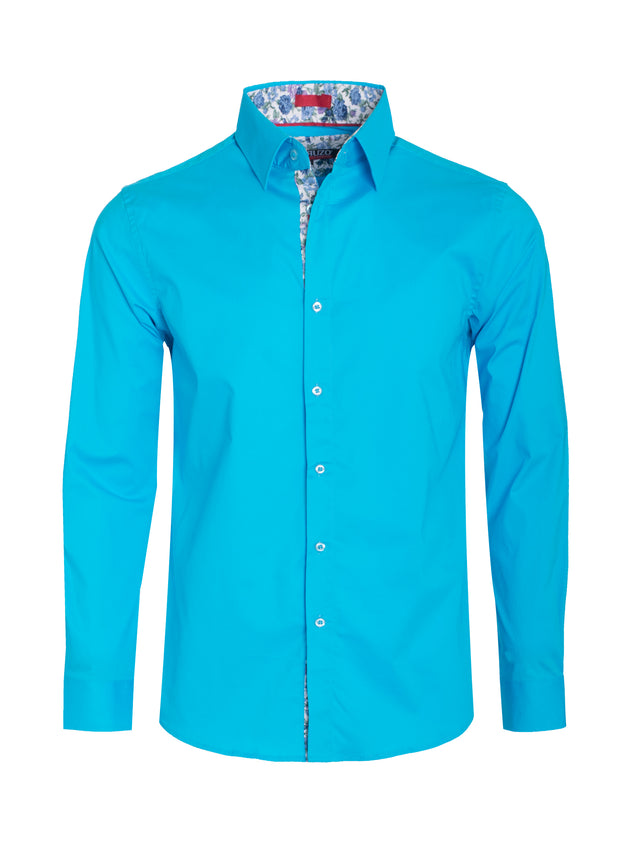 Turquoise Solid Long-Sleeve Shirt (4030)