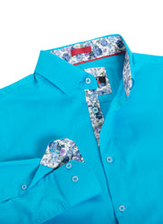 Turquoise Solid Cotton-Stretch L/S Shirt (4030)