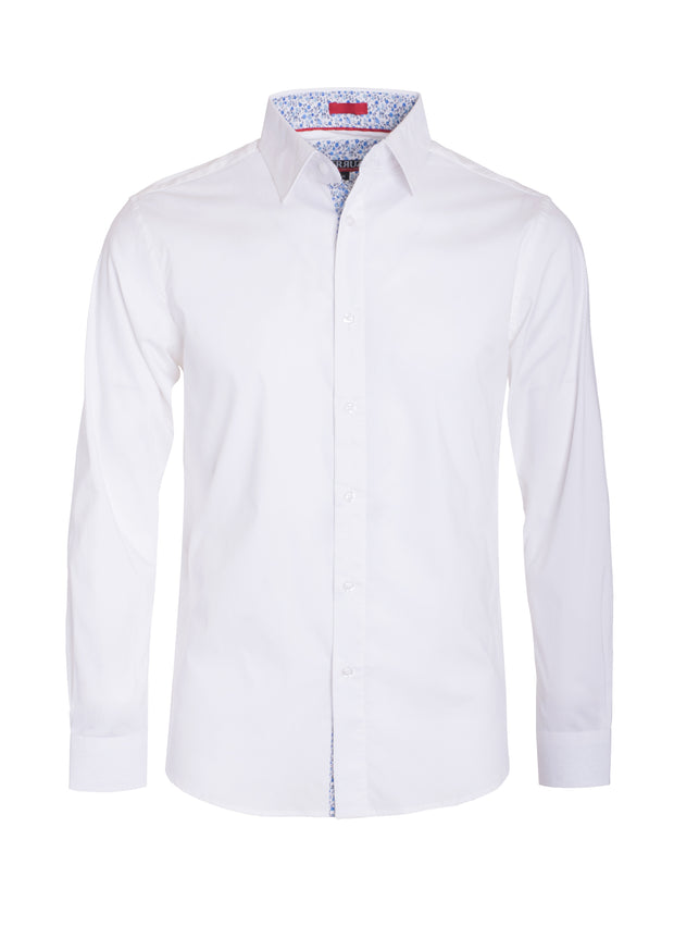 Men's White Solid Cotton-Stretch Long Sleeve Shirt