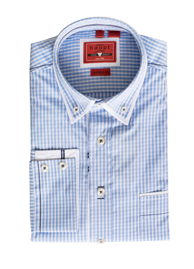 S-32 Haupt Light blue and white Long Sleeve Shirt