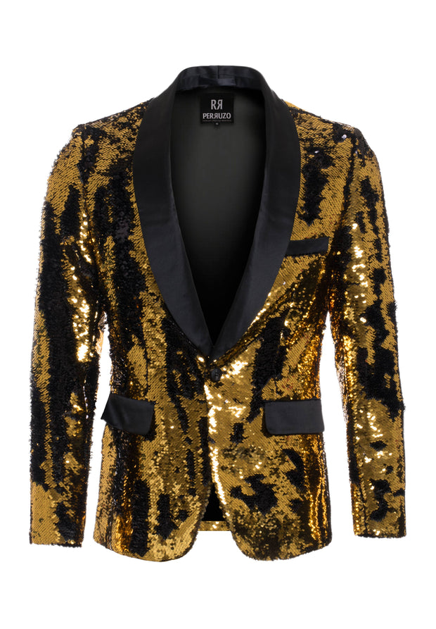 Men's Gold/Black Sequin Blazer