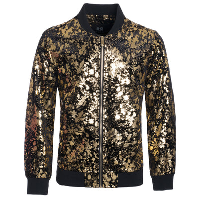 Men's Gold/Black Bomber Jacket