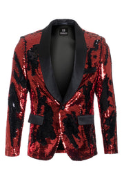 Men's Red/Black Sequin Blazer