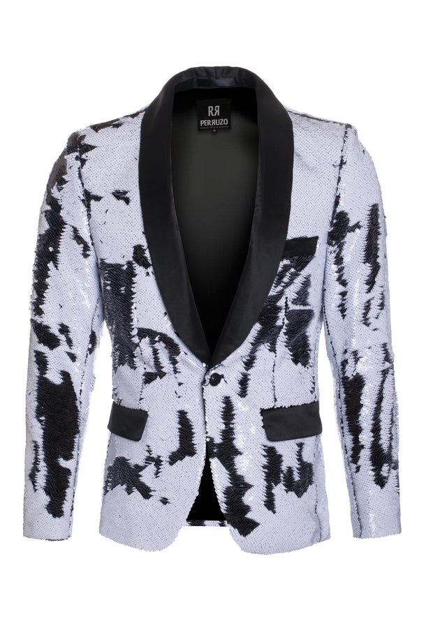 Men's White/Black Sequin Blazer