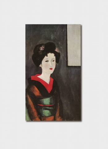 Takehisa Yumeji art card - Portrait of a Woman with a Green Obi