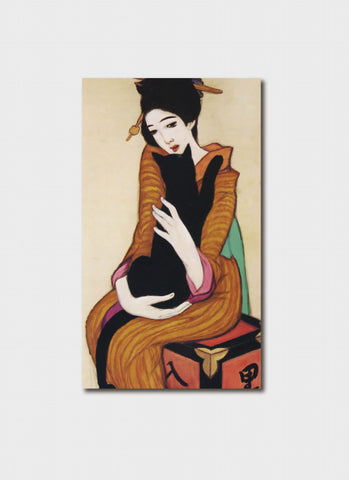 Takehisa Yumeji art card - Black Cat