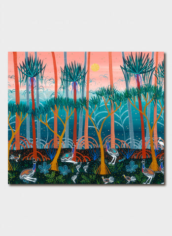 Melanie Hava Art Card - Cassowaries in the Pandanus Forest