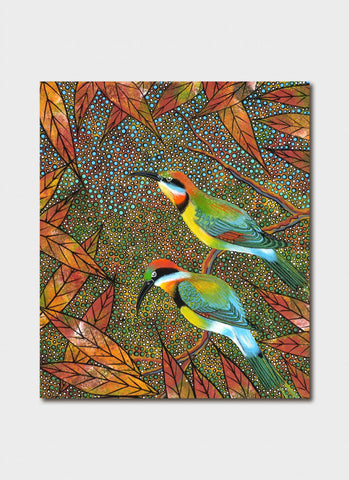 Oral James Roberts art card - Rainbow Bee Eaters