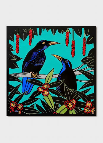 Jude Rose art card - Shooting the Breeze, Rifle Birds