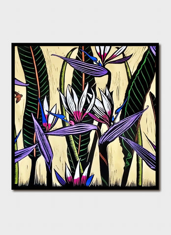 Jude Rose art card - Bee Among Strelitzia