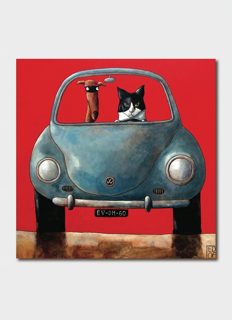 Ed Van Der Hoek cat and dog card