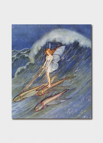 Ida Rentoul Outhwaite art card - She Stepped on to One of Them and Drove