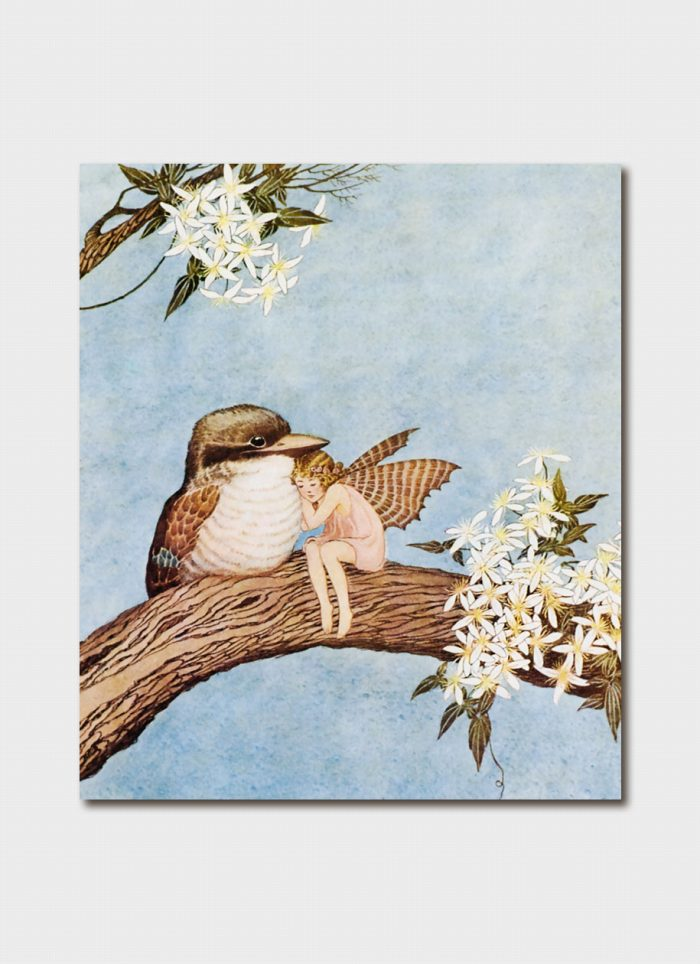 Ida Rentoul Outhwaite art card - Bidget Cuddled Up Against a Fat Baby Kookaburra