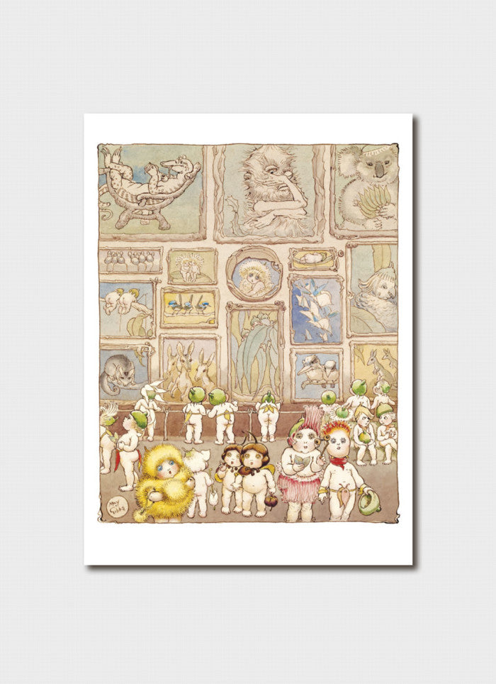 May Gibbs Art Card - 'The Art Gallery' from Little Obelia