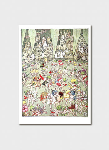 May Gibbs Art Card - 'The Flower Babies' Ball' from The Story of Nuttybub and Nittersing