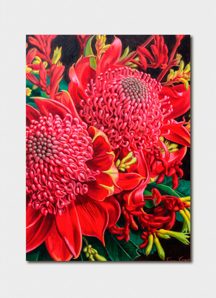 Fiona Craig Art Card - Red Waratah and Kangaroo Paws
