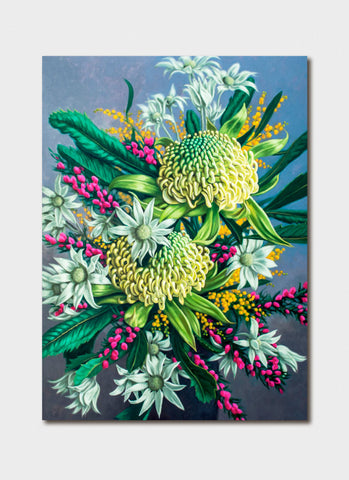 Fiona Craig Art Card - White Waratahs and Boronia