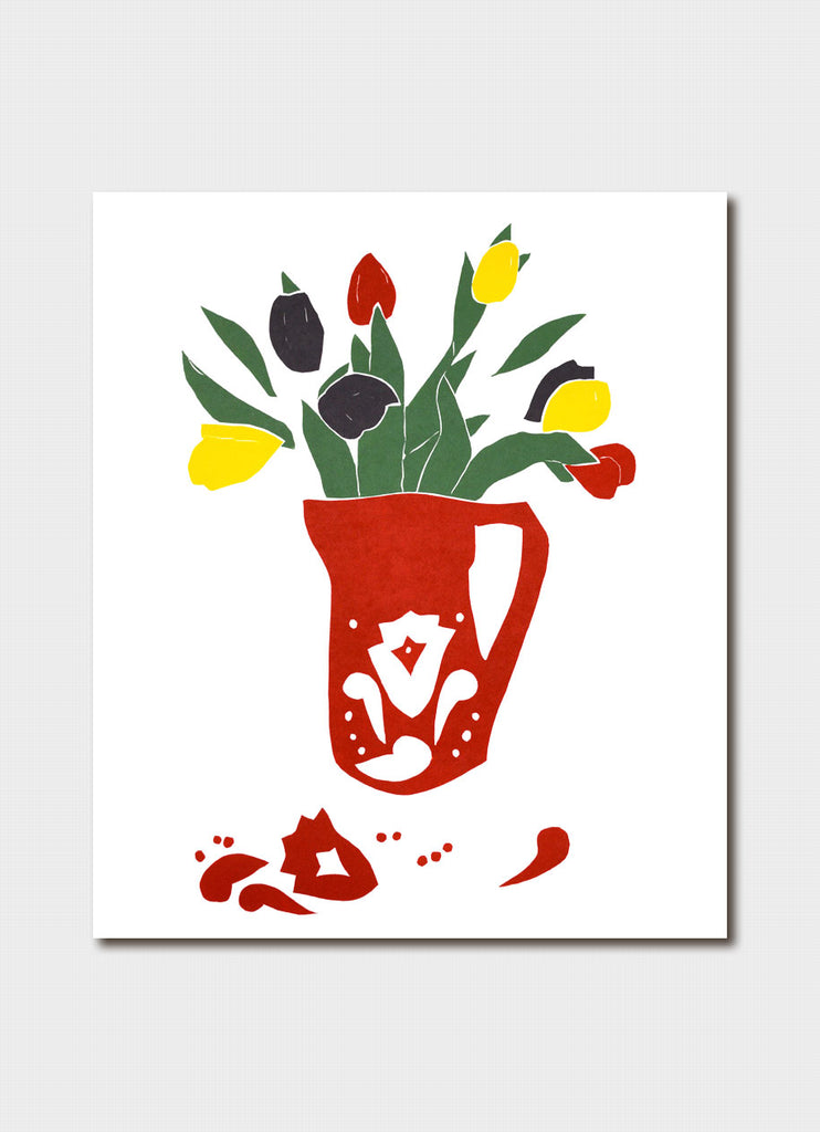 Fleur Rendell art card - Pitcher of Tulips