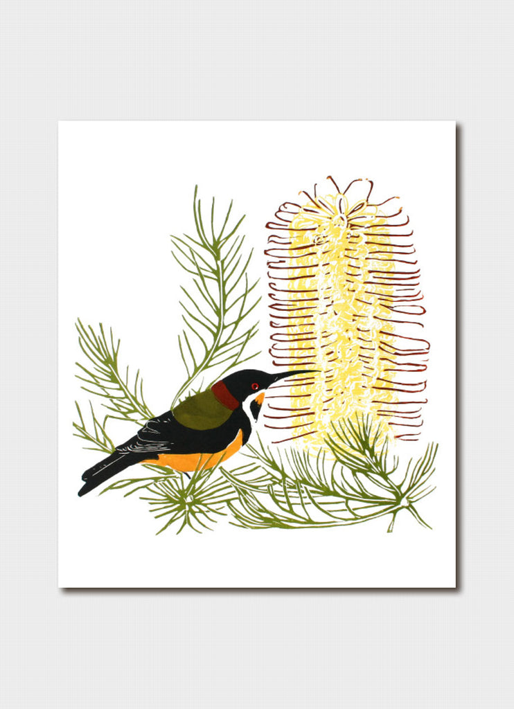 Fleur Rendell art card - The Spinebill and Banksia
