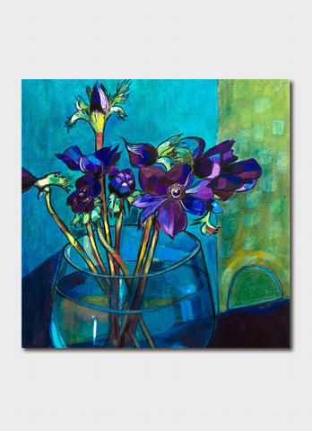 Paloma White art card - Anemones in Blue Vase