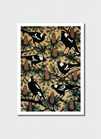 Bruce Goold Art Card - Magpies and Banksias