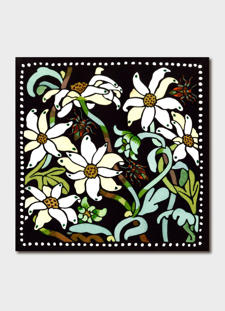 Kit Hiller art card - Flannel Flowers