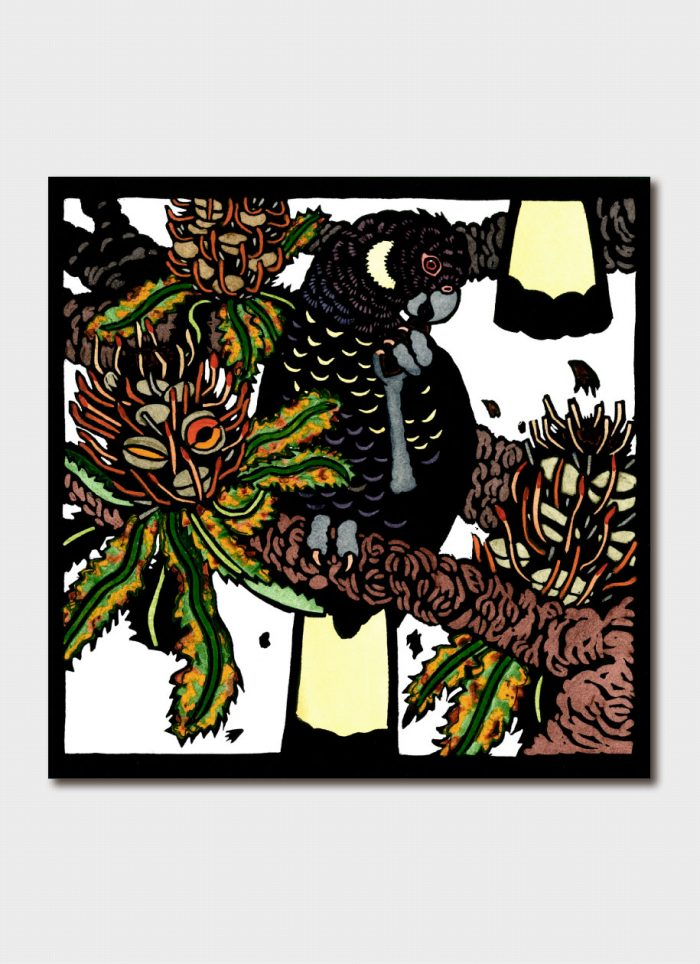 Kit Hiller art card - Black Cockies