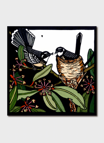 Kit Hiller art card - Grey Fantails