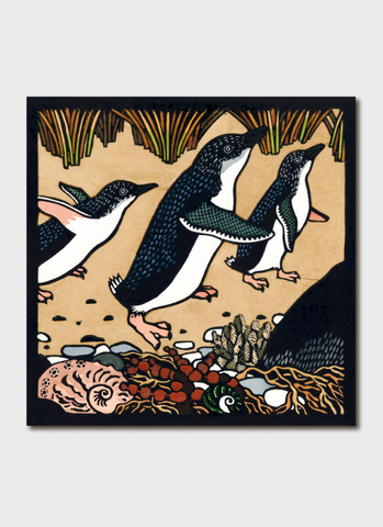 Kit Hiller art card - Fairy Penguins