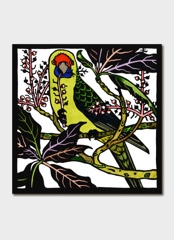 Kit Hiller art card - Green Rosella