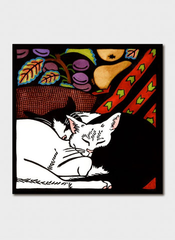 Kit Hiller art card - Black and White Cats