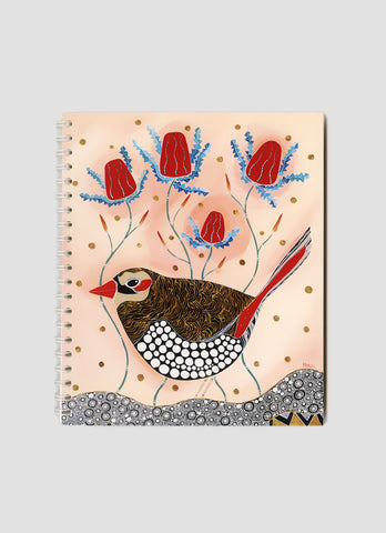 Melanie Hava Small Notebook - Red Eared Finch