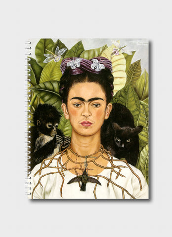 Frida Kahlo Medium Notebook - Self Portrait With Thorn Necklace and Hummingbird
