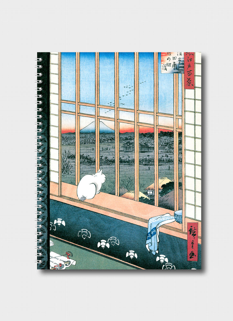 Japanese Woodblock Print Medium Notebook - Asakusa Ricefields and Torinomachi Festival