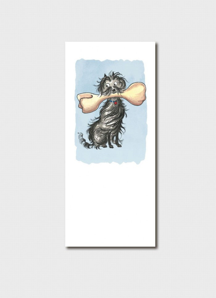 Hairy Maclary with a bone bookmark