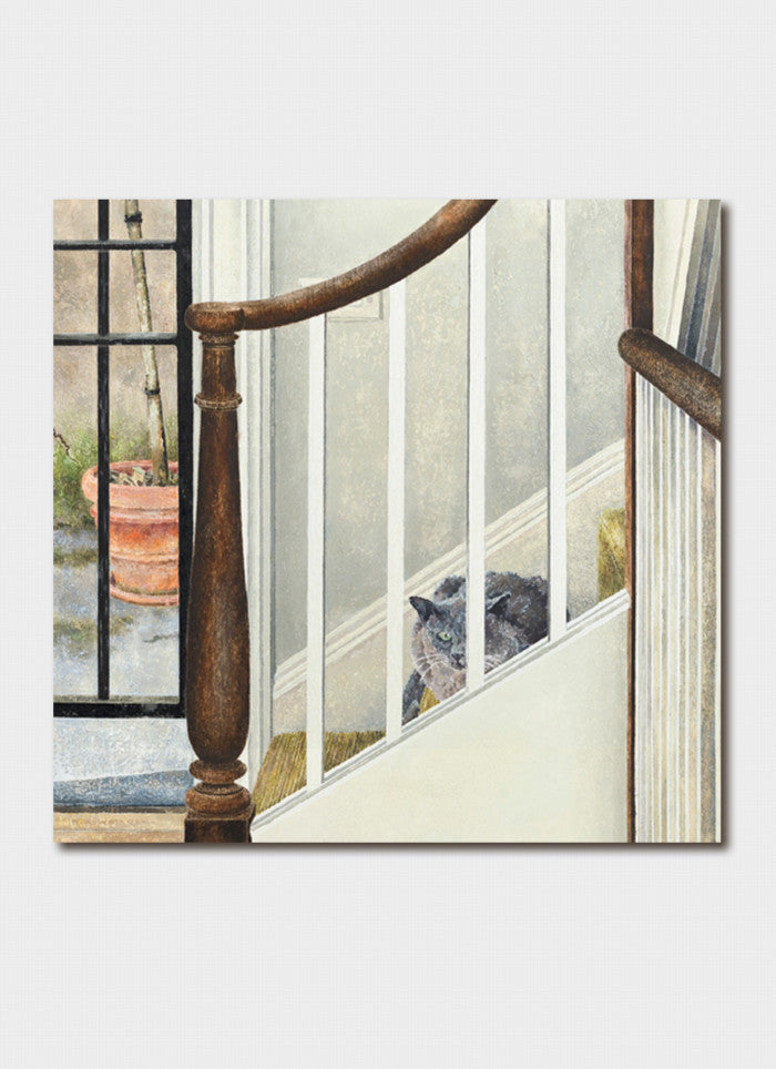 Cressida Campbell - Otto on the Stairs