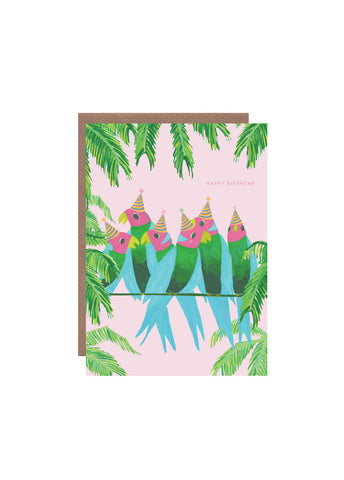 Hutch Cassidy greeting card - Parrots on the Line