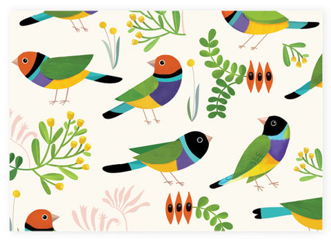 Earth Greetings Wrapping Paper - Desert Finches - detail