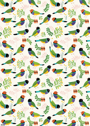 Earth Greetings Wrapping Paper - Desert Finches