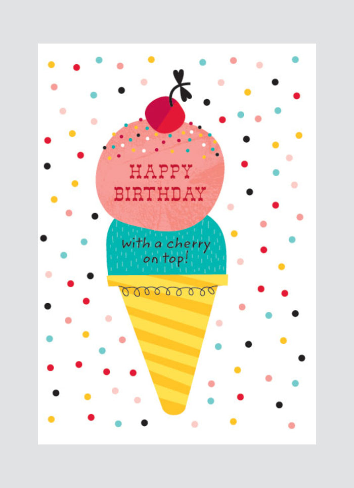 Little Red Owl card - Ice Cream Birthday