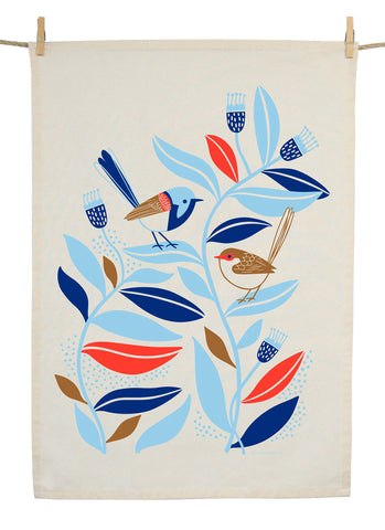 Earth Greetings Tea Towel - Peaceful Wren