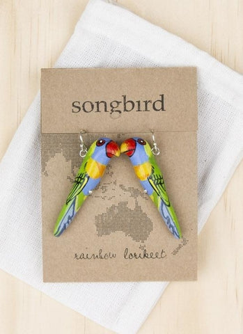 Songbird Earrings - Rainbow Lorikeet