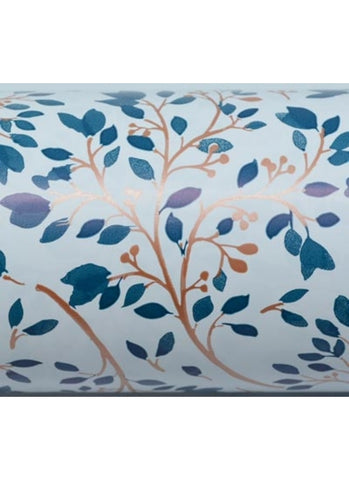 Wrapping Paper Roll - Spring Blossom - Teal and copper on white