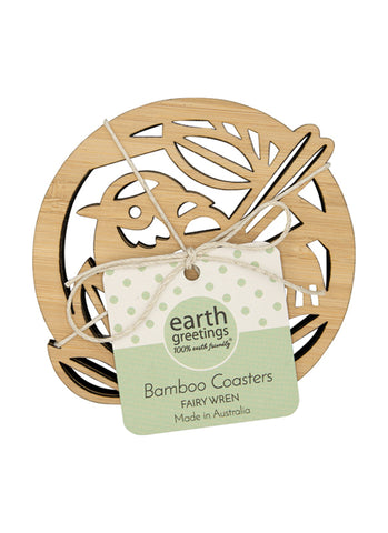 Bamboo Coasters - Fairy Wren (set of four)