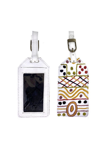 BWA Embroidered Leather Luggage Tag - Josette Papajua