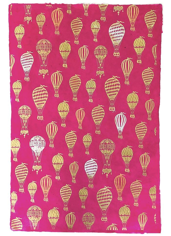 Handmade Lokta Paper - Hot Air Balloons Metallic on Magenta