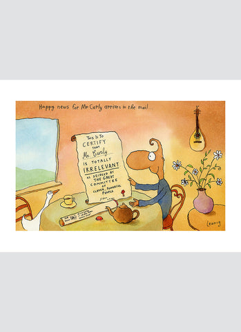 Leunig cartoon card - Happy News for Mr Curly