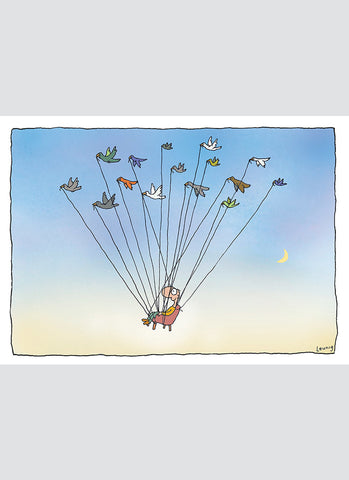 Leunig cartoon card - Birdmobile